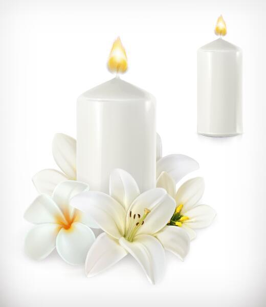 、ろうそく、花、白