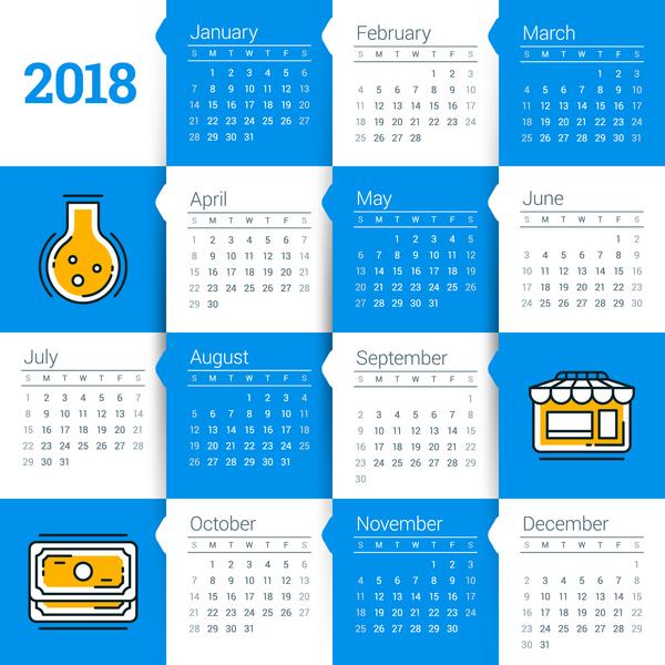 weiß Kalender blau 2018