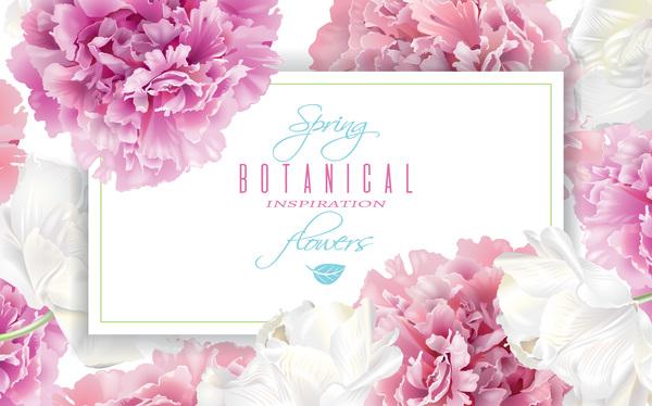 、花、フレーム、ピンク、白