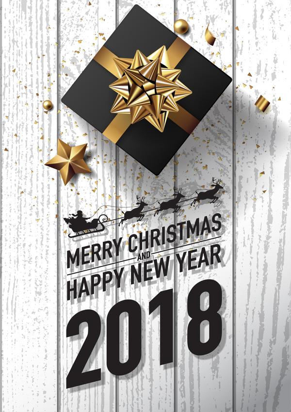 、2018、カード、クリスマス、新しい、白、木、年