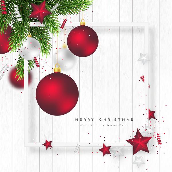 vit trä rod jul bollar