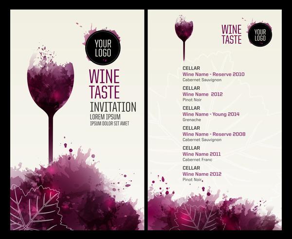 Wein Watecolor stile menu