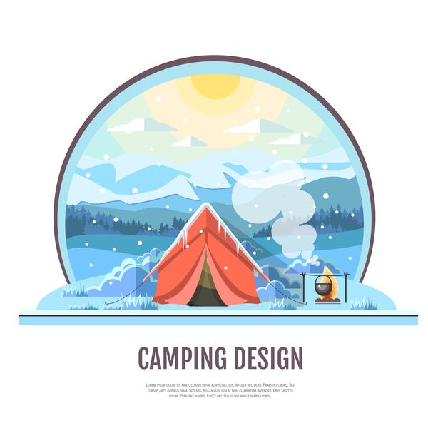 、キャンプ、テント、冬
