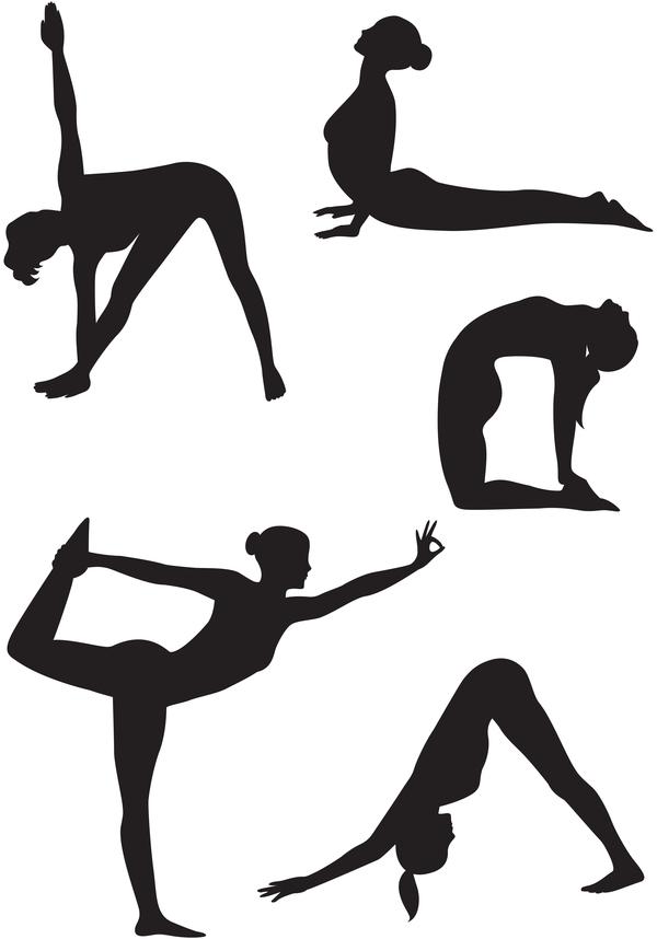 yoga silhouette pose femme