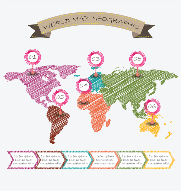 Monde Carte Illustration Infographie Géométrique Croquis