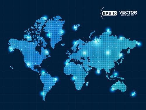 Welt Punkt Licht Karte
