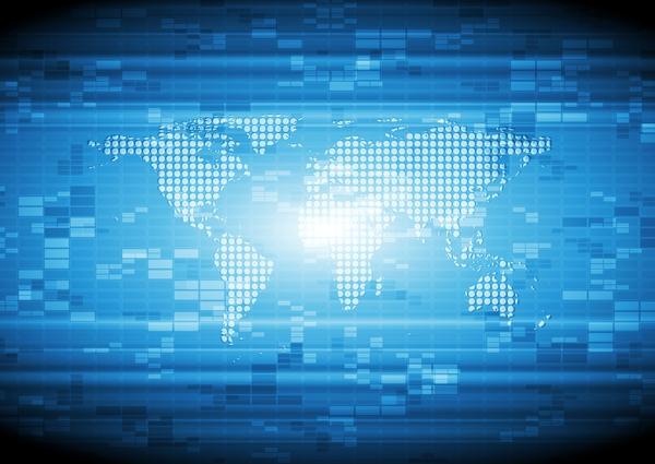 、地図、近代的な、ハイテク、世界