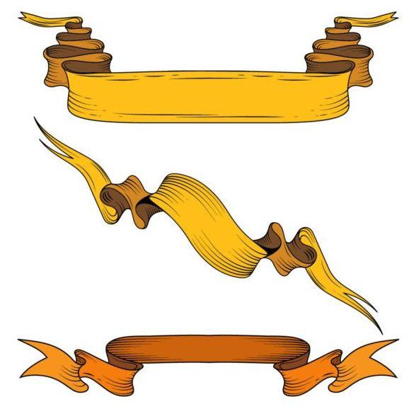 Gelben Bänder der hand gezeichnete Material Vektor 01 - WeLoveSoLo
