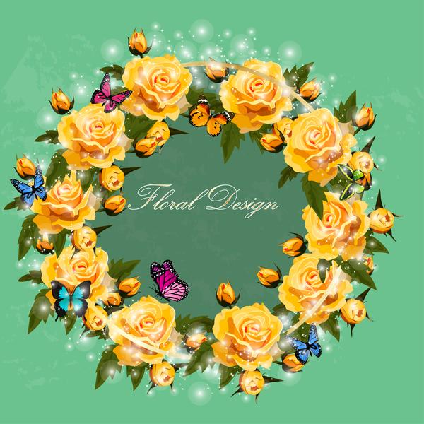 Rosa gialla Corona di farfalle