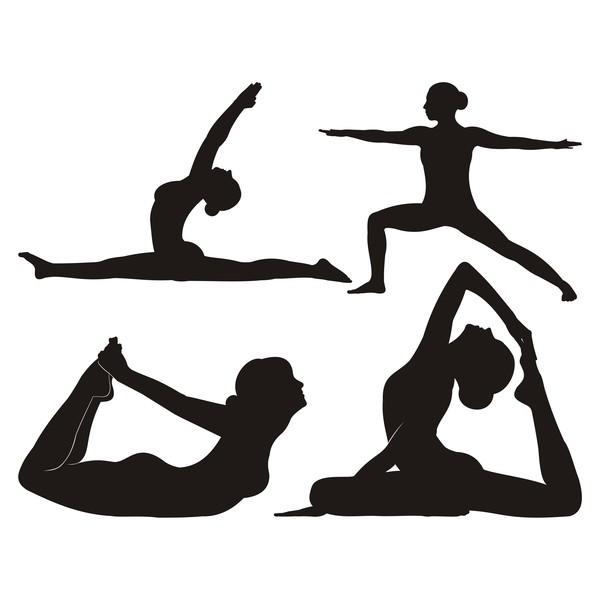 yoga Svart siluett posera