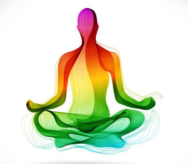 yoga hållning färgade