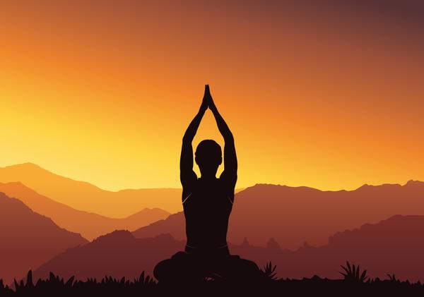 yoga Sonnenuntergang silhouette