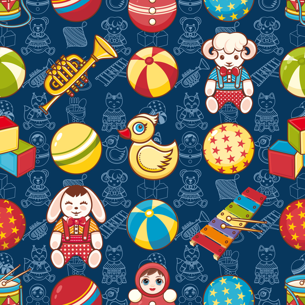 toy seamless pattern cute baby