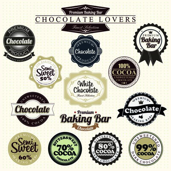 Schokolade Etiketten bar Backen Abzeichen
