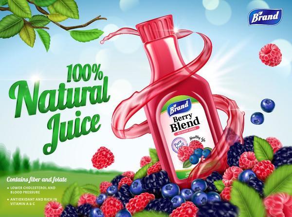 naturliga juice blandning bar affisch