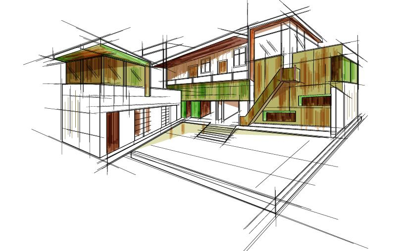 sketch draft building blueprint