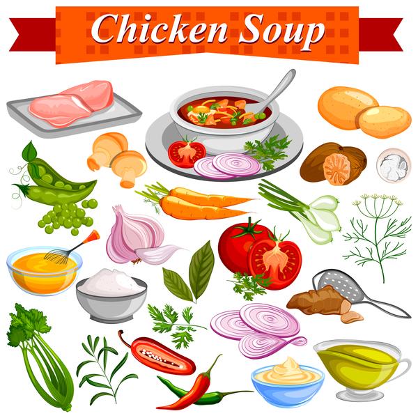 、鶏肉、スープ