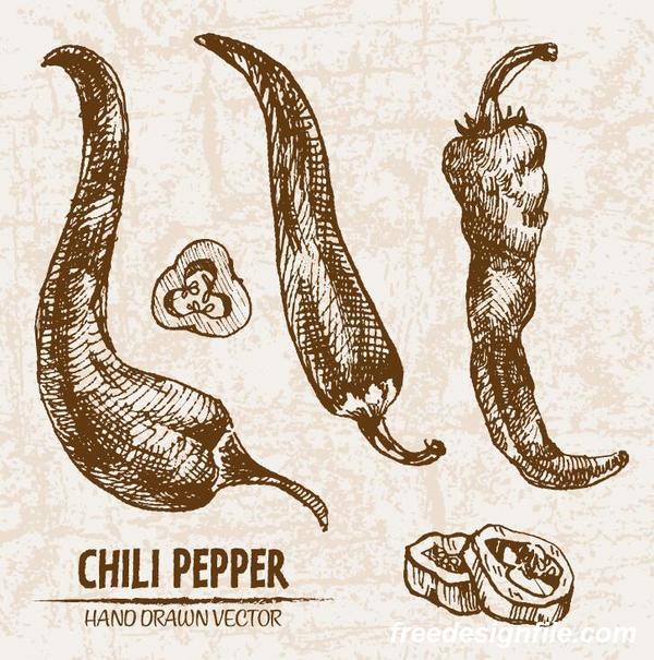 Teckning retor peppar hand chili