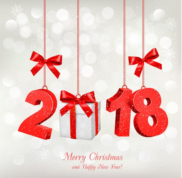 、2018、ボックス、カード、クリスマス、ギフト