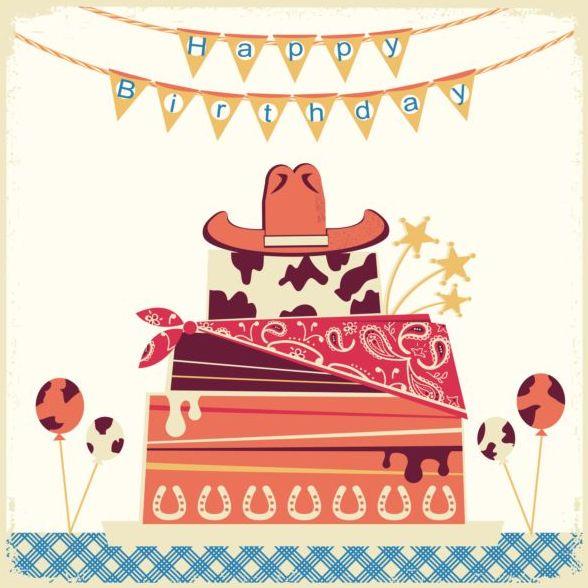 tårta kort happy Födelsedag cowboy