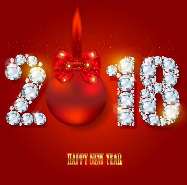 rot Neu Jahr diamond 2018
