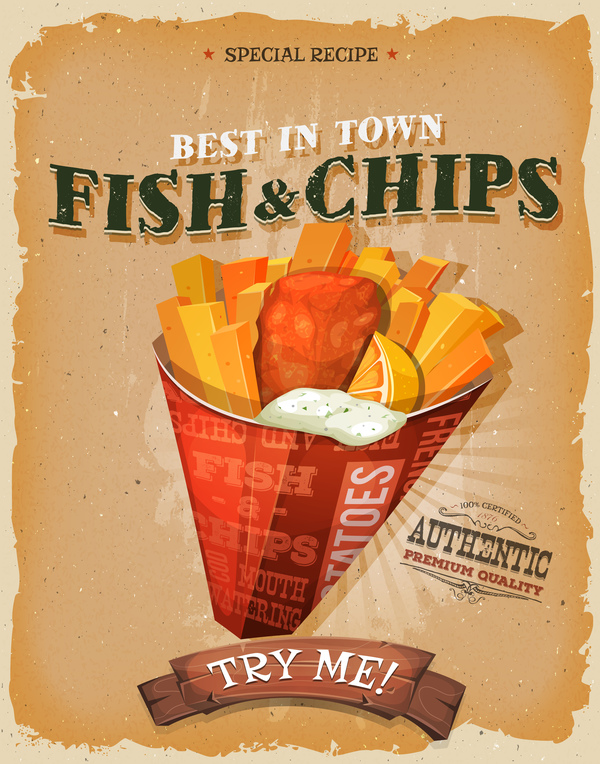 poster pesce patatine fritte flyer