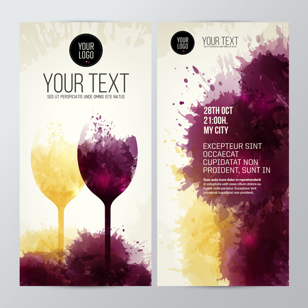 wine white taste stains splash red glasses flyer color