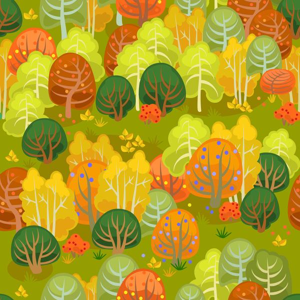 、、秋の森、シームレスなパターン