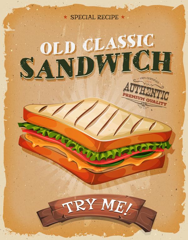 ポスター フランス チラシ サンドイッチ