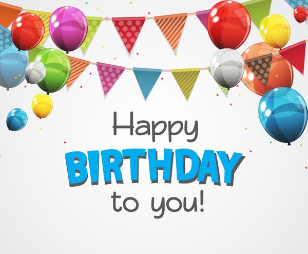 Luftballons Karte happy Geburtstag farbig
