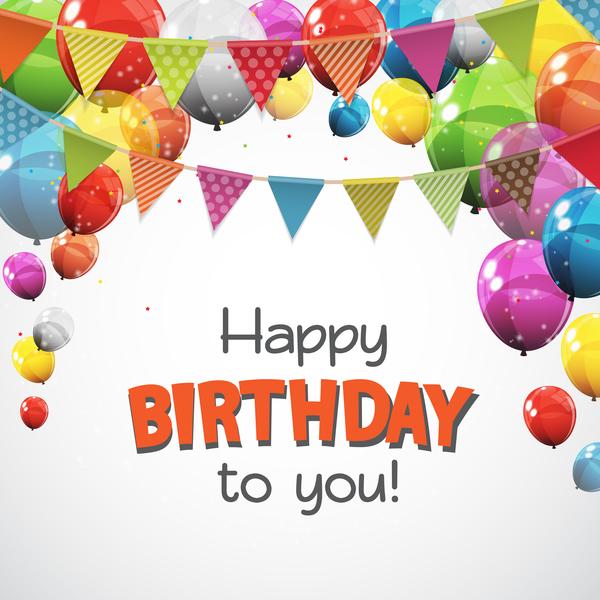 palloncini happy Compleanno colorato carta