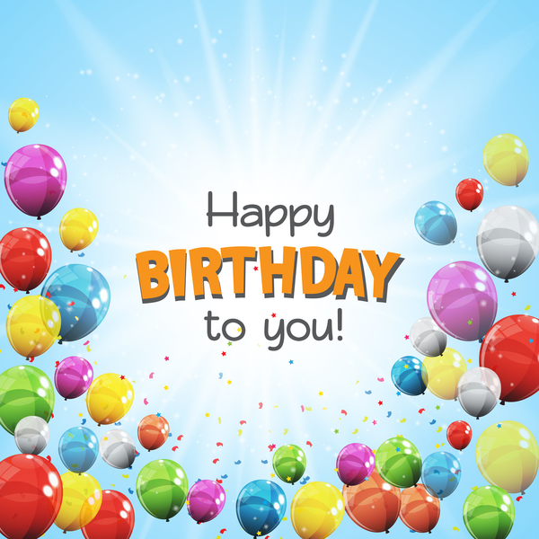 kort happy Födelsedag färgade ballonger