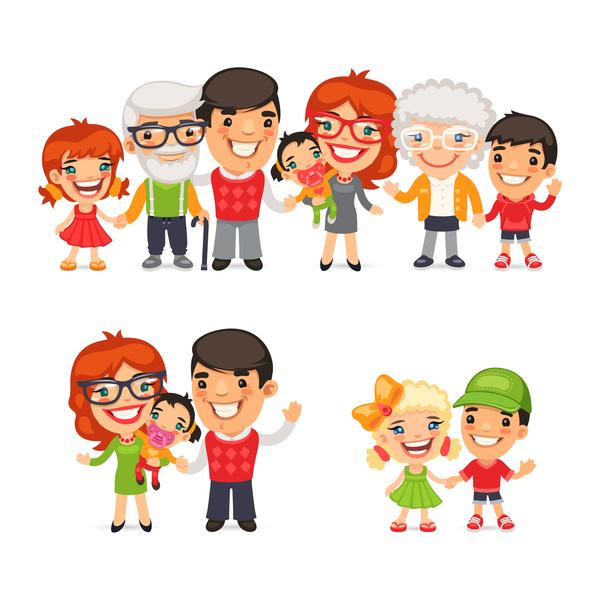 tecknad happy Familj