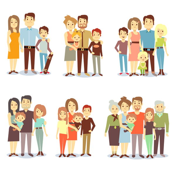 、漫画、家族、幸せな