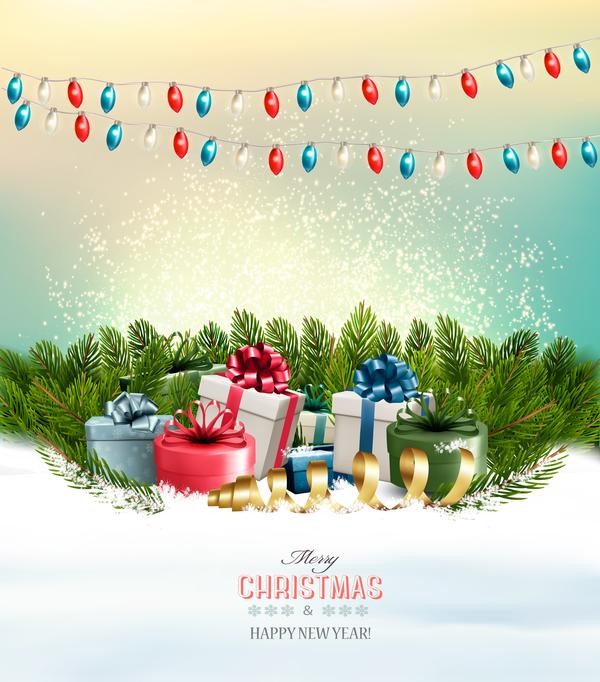 fete colorful cadeau branches boîtes arbre