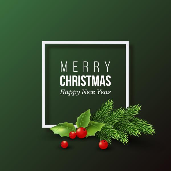 houx vert de Noël carte