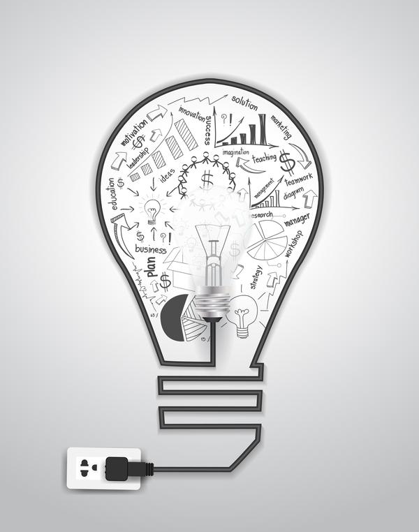 ljus infographic glödlampa