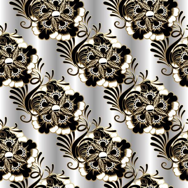 贅沢 白 フローラル ブラック パターン シームレス