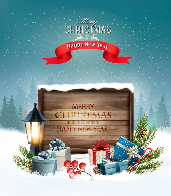 trä merry lykta logga kort jul hälsning