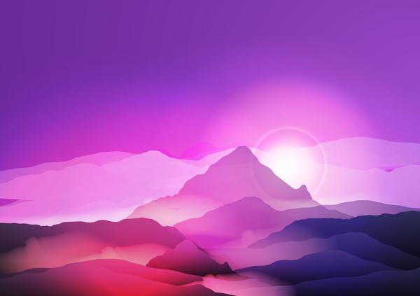 、風景、山、自然、日の出