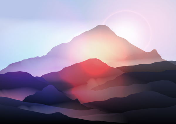 soluppgång Natur landskap Berg