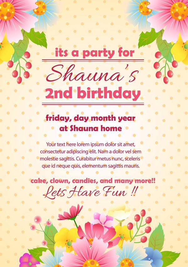 invitation fleur fete carte