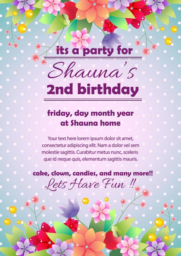 party Karten Einladung Blumen