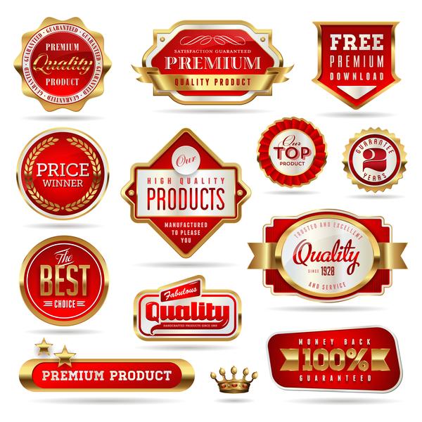 、ラベル、品質、赤い、シール