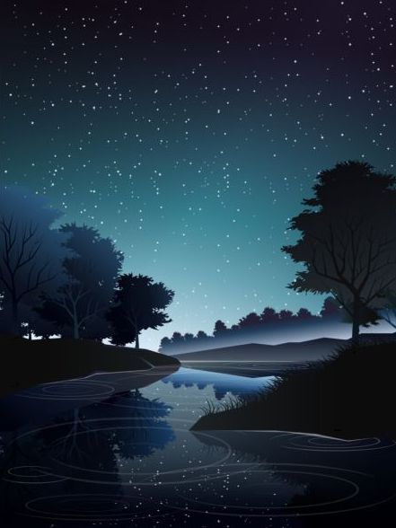 Profondo notte foresta fiume