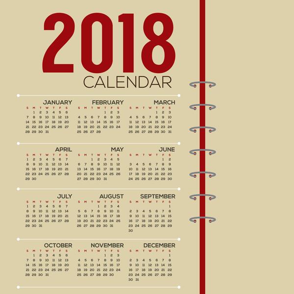 semplice calendario 2018