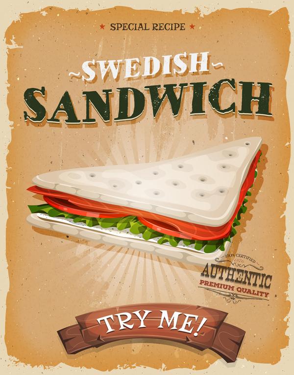 ポスター チラシ スウェーデン語 サンドイッチ