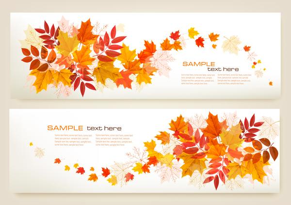 l'automne Des feuilles des deux des bannières colore
