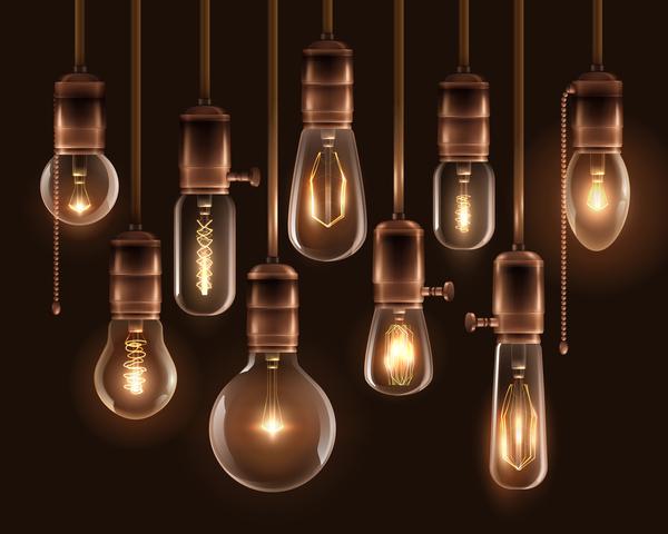ビンテージ 、輝く、光の球根
