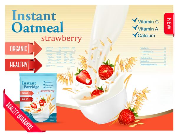 Weizen poster Milch Haferflocken Erdbeere